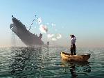 ship sink man on boat
