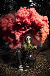 red smoke gas mask