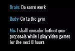 game brain do work body go gym
